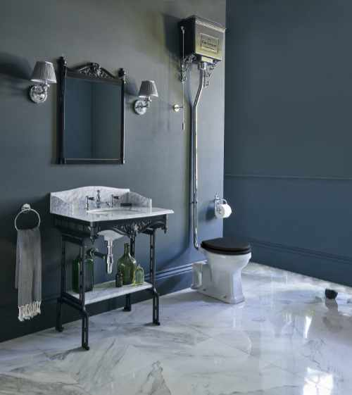 Burlington - High level WC with aluminium cistern and carrara marble basin top with aluminium washstand