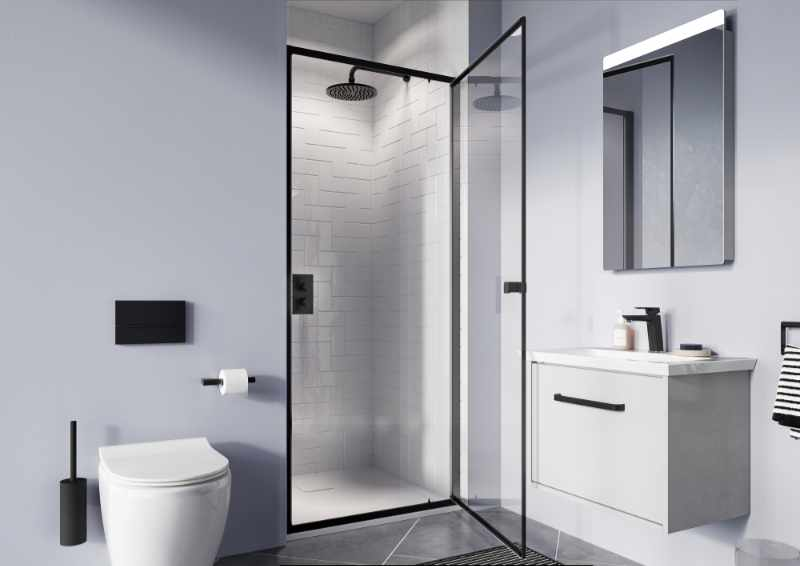 Crosswater - Clear 6 matt black pivot door