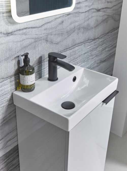Tavistock - Cadence cloakroom unit and Avid black basin mono tap