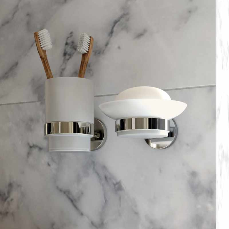 Bathroom Accessories and Finishing Touches at GeoJones Bristol - 4. Vado frosted glass wall mounted soap dish and toothbrush holder with chrome detail