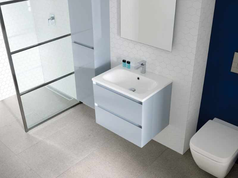 Basins and Furniture at GeoJones Bristol - Calypso light grey wall mounted bathroom vanity unit with drawers