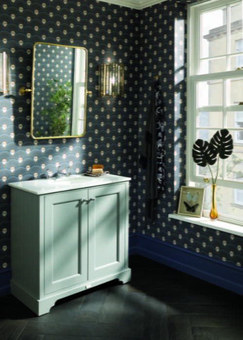Bayswater - Plummet grey basin cabinet with white marble top